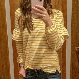 Yellow peplum sleeve shirt!